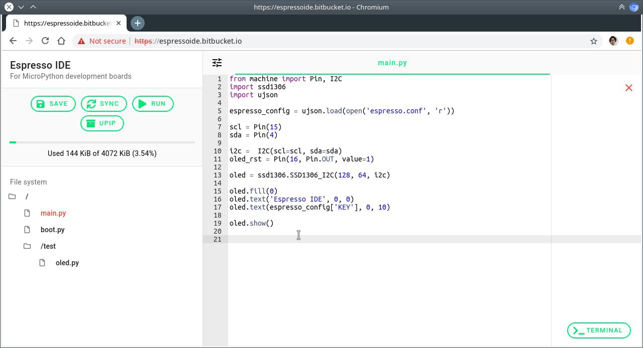Espresso IDE: for MicroPython development boards — Espresso